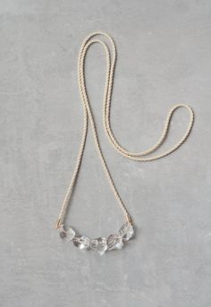 Crystal Quartz and Rope Necklace Long Modern Boho by terrafique