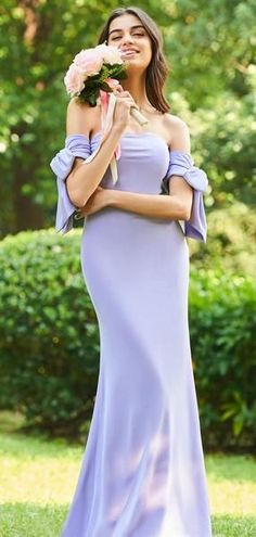 3c8296ef644 Lavender Jersey Off Shoulder Mermaid Long Bridesmaid Dresses