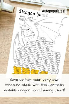 Dragon Hoard Editable PDF 100 cells autopopulates | Etsy Savings Chart, Goal Charts, Get Out Of Debt, Money Saving Tips, Dungeons And Dragons, The Hobbit, Personal Finance, Frugal, The Help
