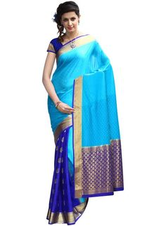 IndusDiva Women's Dark and Light Blue Half and Half Pure Silk Saree.      Pure Silk     For silk apparel, it is necessary that one keeps it covered by a cotton cloth, always.Being a pure natural fabric, they need abundant breathing and cotton is one of the few materials which allow this. Never wrap silk apparel in plastic and trap the moisture; this could change the color and quality of the fabric in no time. Additionally always keep it free from moths by using cedar sticks.     Length:6.25…