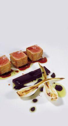 497, El Bulli, 1998, plato (dishes) ventresca de atún a la grosella negra y eucalipto (belly of tuna with blackcurrant and eucalyptus)
