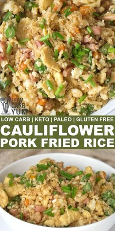 A keto friendly paleo Chinese cauliflower pork fried rice recipe that's much healthier than the traditional take-out. Enjoy it as a light meal or as a side dish to dinner. Healthy Rice Recipes, Rice Recipes For Dinner, Paleo Dinner, Pork Recipes, Keto Recipes, Cooking Recipes, Diabetic Dinner Recipes, Light Meals For Dinner, Healthy Fried Rice