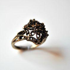 Baroque Bronze Ring Vintage Flower Ring