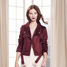 LC Lauren Conrad Runway Collection Faux-Suede Moto Jacket - Women's