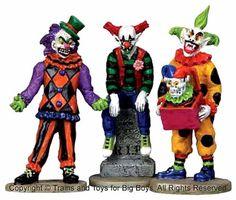 Lemax-12885-EVIL-SINISTER-CLOWNS-Set-of-3-Spooky-Town-Figure-Halloween-Decor-I
