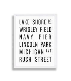 Chicago Print Subway Art Print Vintage Looking Chicago Sign Canvas Decor Lincoln Park Rush Street Modern Decor Home Staging Wrigley Field