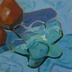 """Blue Petal Plate"" - Original Fine Art for Sale - © Robin Rosenthal"