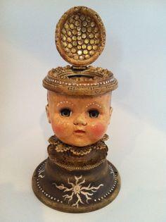 Antique Doll Head Steampunk Assemblage Jewelry by DeborahPetronio, $375.00