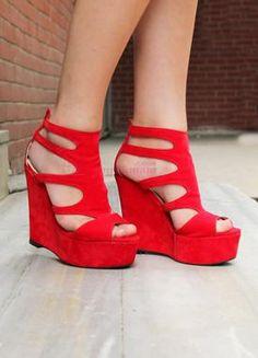 Fashion Kırmızı Süet Dolgu Topuk Ayakkabı