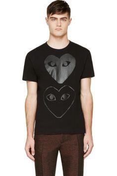 Comme des Garçons Play: White & Black Logo T-Shirt | SSENSE