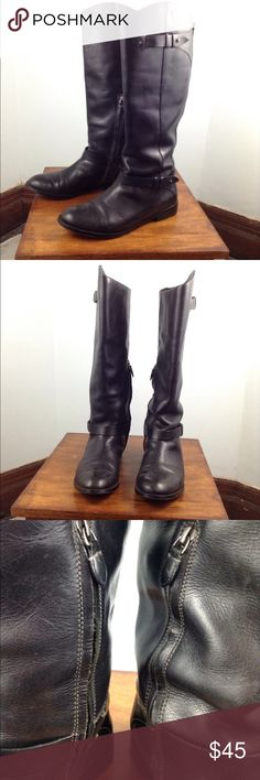 Halogen Womens Size 11 Riding Boots Black Leather Leather uppers and soles. Shaft Height 17 inches inner ankle zippers. Elastic gore. Calf circumference is 14 inches. Halogen Shoes Heeled Boots