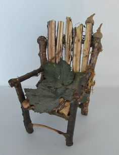 FAIRY CHAIR, handmade from twigs one of a kind art miniature for dolls or garden
