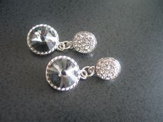 Swarovski crystal round rivoli grey earrings with by LeeliaDesigns, $25.00