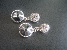 Swarovski crystal round rivoli grey earrings with by LeeliaDesigns, $25.00