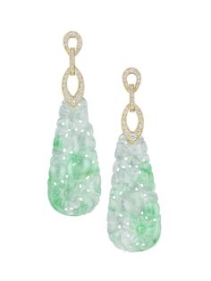 Mimi So Couture Jade & Diamond Earrings