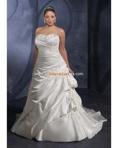 Plus Size Strapless Princess Applique Satin Custom-made Wedding Dresses 2013