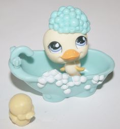 LITTLEST PET SHOP Duck Bath Tub Accessories Tiny Rubber Ducky #Hasbro