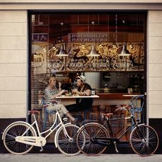 Gorgeous vintage looking bikes in a very French looking picture