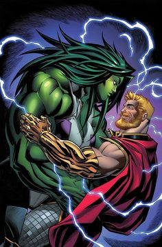 After months of mutual attraction, Thor and Jennifer Walters, aka the Hulk, will at last go on a date in Marvel's Avengers Marvel Dc, Marvel Heroes, Marvel Characters, Univers Marvel, Marvel Universe, Polaris Marvel, Deadpool, Hulk Smash, Comic Books Art