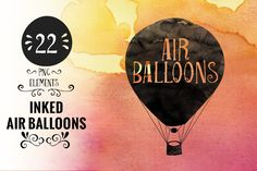 Inked Hot Air Balloons by Kaazuclip on @creativemarket