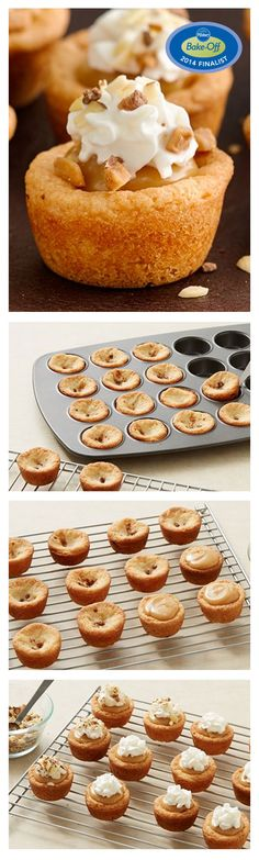 Bake-Off Contest Finalist: Toffee and Almond Fudge Cookie Cups by Amy Andrews from Macomb. MI View The Recipe Details Finger Desserts, Mini Desserts, Cookie Desserts, Just Desserts, Cookie Recipes, Delicious Desserts, Dessert Recipes, Yummy Food, Cookie Time