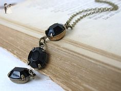 Vintage Rhinestone Necklace Black Glass Oval Brass Antiqued Triple Jet - Bridesmaid gifts (*Amazon Partner-Link)
