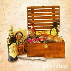 Our good old South African favourites for the true spirited patriot.Try out this gourmet gift hamper. All treats are lovingly presented in an exquisite wooden crate with hinged lid and filled with wood wool. Christmas Gift Box, Holiday Gifts, Peri Peri Sauce, Guava Fruit, South African Wine, Liquorice Allsorts, Biltong, Wine And Liquor, Gourmet Gifts
