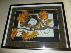 Fall Nest. Hooked by Cecilia Connell on linen from Jane Halliwell Green's pattern after the workshop on sculpting and alternative hooking materials in Northern VA. (2011) Various cuts, mainly #3, #5, #6