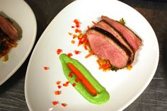 Gingered Duck Breast with Carrot & Cabbage Slaw, Broccoli Puree & Chili Oil Drizzle