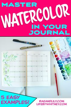 How to #watercolor in your journal - learn easy techniques for #painting beginners. Try these 5 simple ideas and decorate the pages in your #notebook or bullet journal!