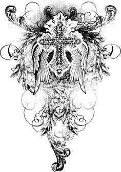 Tattoo Designed Angel Wings Cross...Maybe print on transfer paper for bible covers