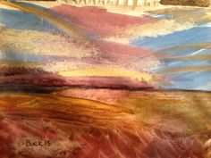Plateau in the distance in watercolors.