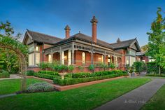 House for Sale - 12 Kintore Street, Camberwell, VIC Grand-scale beauty amidst garden sanctuary Rarely have classic and contemporary beauty merged with… Australian Country Houses, Australian Homes, Edwardian House, Victorian Homes, Federal Style House, Brick Cottage, Melbourne House, House Front Design, House Paint Exterior