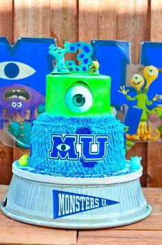 Fun cake at a Monsters University birthday party! See more party ideas at CatchMyParty.com!