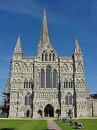 Picture of the Salisbury Cathedral. It shows that they were a very pointed architecture.