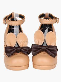 Detachable Rabbit Ears Round Toe Platform Lolita Shoes - Lolitashow.com