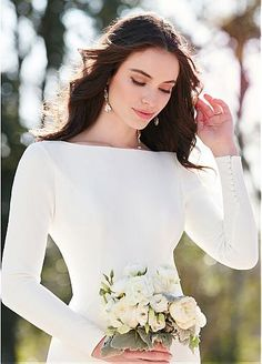 Glamorous Spandex Bateau Neckline Mermaid Wedding Dresses