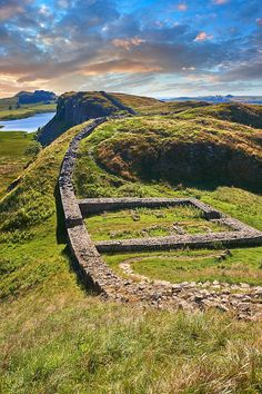 A milecastle fort on Hadrians Wall near Houseteads Roman Fort, Vercovicium, A UNESCO World Heritage Site, Northumberland, England, UK Download as stock photos or prints. Photographer Paul Williams.