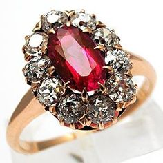 VICTORIAN ERA ANTIQUE NATURAL RUBY & DIAMOND RING SOLID 14K GOLD