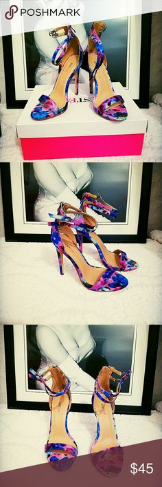 New multi color strap heels New multi color strap heels..super cute never worn still in box...glamour magazine style watch edition just fab JustFab Shoes Heels