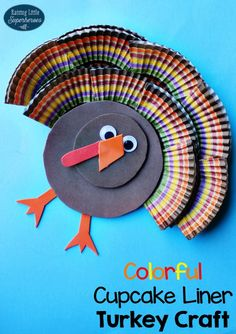 Use your leftover cupcake liners to create this Colorful Cupcake Liner Turkey Craft.  It is a fun craft to create and an adorable Thanksgiving decoration.
