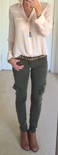 Chic Professional Woman Work Outfit. Blush pink and olive, leopard belt.