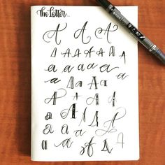 Calligraphy practice for the letter A from maria.eliza.lettering on Instagram. She continues with the rest of the alphabet.