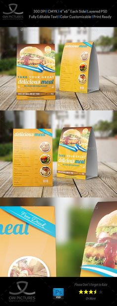 Restaurant and Cafe Table Tent Template Vol2 Table tents, Cafe - table tent template