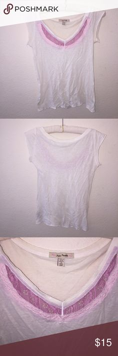 Free People Lace Tee Size S, great condition other than blemishes noted in pictures. Color is cream and pink lace.  Please let me know if you have any questions, no trades sorry, & offers thru offer button only! I do not discuss price in comments. Thanks 😊💕 Free People Tops Tees - Short Sleeve
