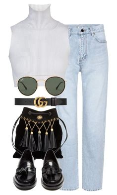 """Miu Miu x Yves Saint Laurent"" by muddychip-797 ❤ liked on Polyvore featuring Yves Saint Laurent, Miu Miu, Gucci, Ray-Ban, business, saintlaurent, gucci, miumiu and fashionset"