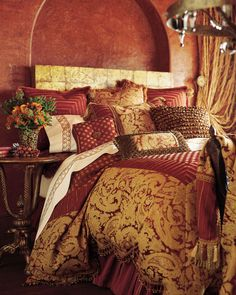 Deep Reds & Gold~ Love the colors except I don't like how big the gold pattern is on the coverlet.