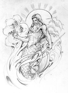 Poseidon Tattoo Sleeve Element by ~BeniaminoBradi on deviantART