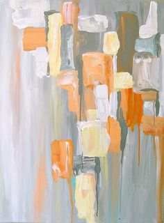 "Abstract Painting Gray Coral Yellow Contemporary Designer Art 18"" x 24"" x 3/4"""
