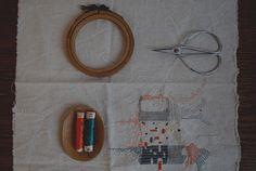 handmade embroidery, orange and blue
